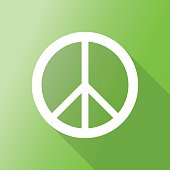 peace sign icon with long shadow.