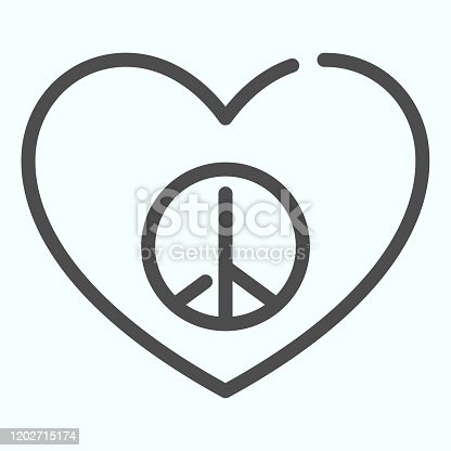 istock Peace sign in heart shape line icon. Pacific heart vector illustration isolated on white. Heart with peace symbol outline style design, designed for web and app. Eps 10. 1202715174