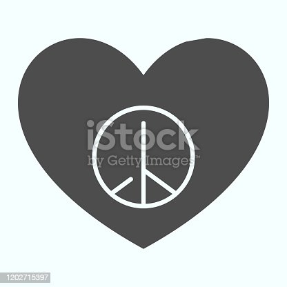 istock Peace sign in heart shape solid icon. Pacific heart vector illustration isolated on white. Heart with peace symbol glyph style design, designed for web and app. Eps 10. 1202715397