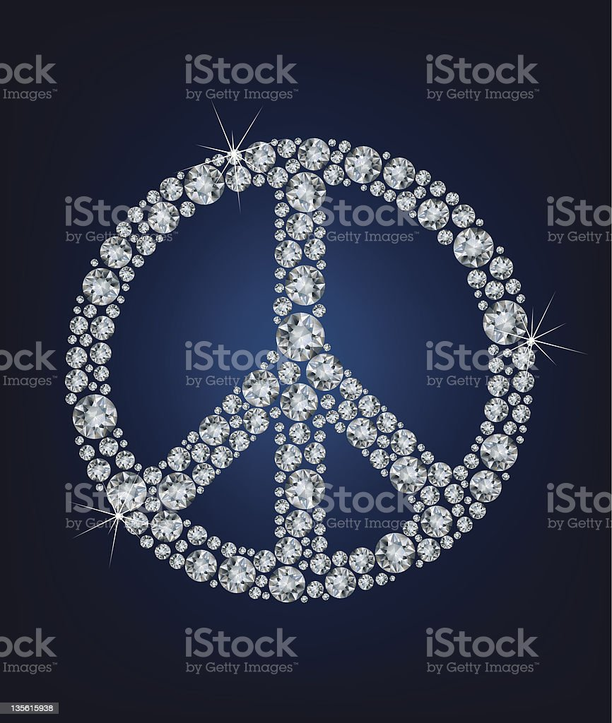 Peace sign made up a lot of diamonds vector art illustration