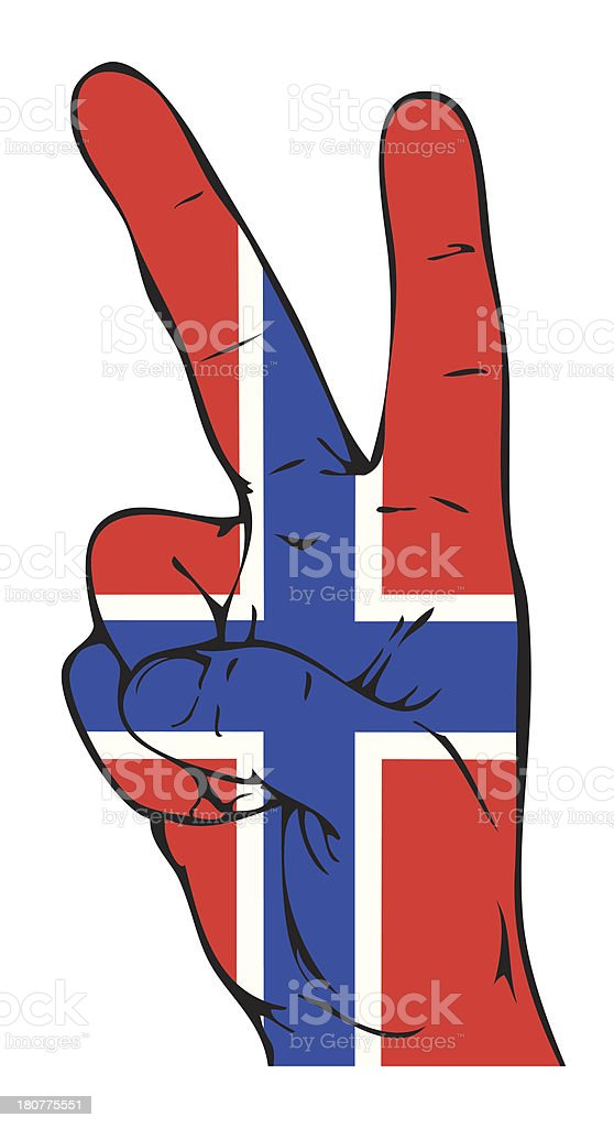 Peace Sign of the Norwegian flag royalty-free stock vector art