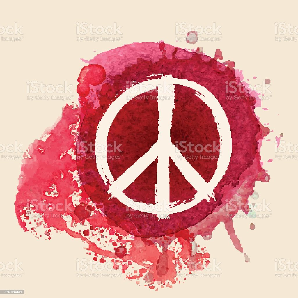 Peace sign on red water color ink splat background vector art illustration