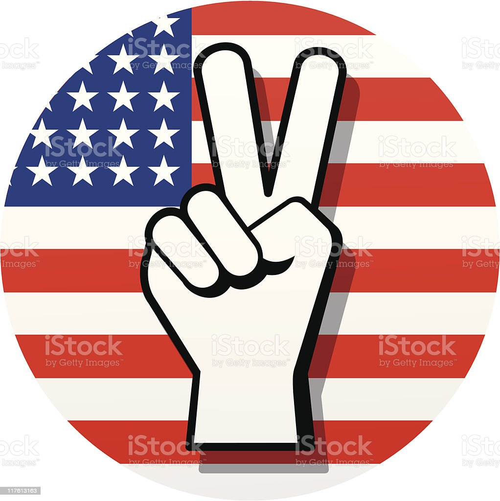Peace Sign on Red, White and Blue royalty-free stock vector art