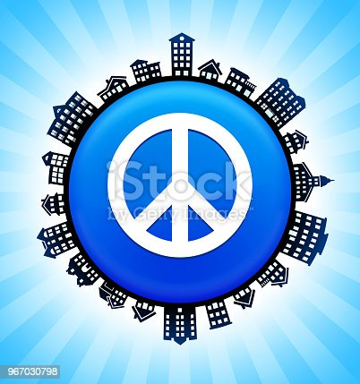 Peace Sign  on Rural Cityscape Skyline Background. The button is in the center of the illustration. a detailed 100% vector rural cityscape skyline is placed around the circumference of the button and includes various houses, single family homes, residential condominium and other suburb buildings. There is a blue sky background with a star burst glow rendered behind the buildings. The image is ideal for displaying rural suburban life concepts and ideas.