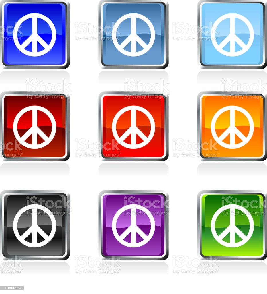 peace sign royalty free vector icon set in nine colors royalty-free stock vector art