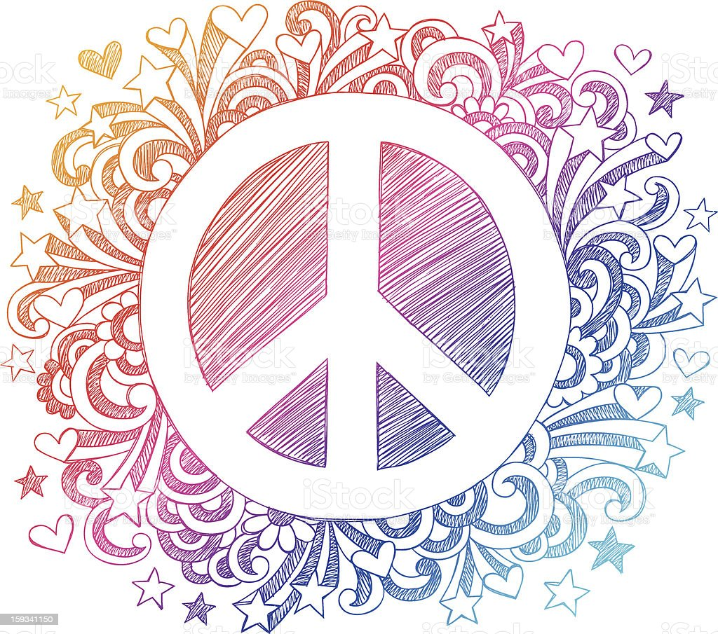 Peace Sign Sketchy Doodles Vector Design Elements vector art illustration