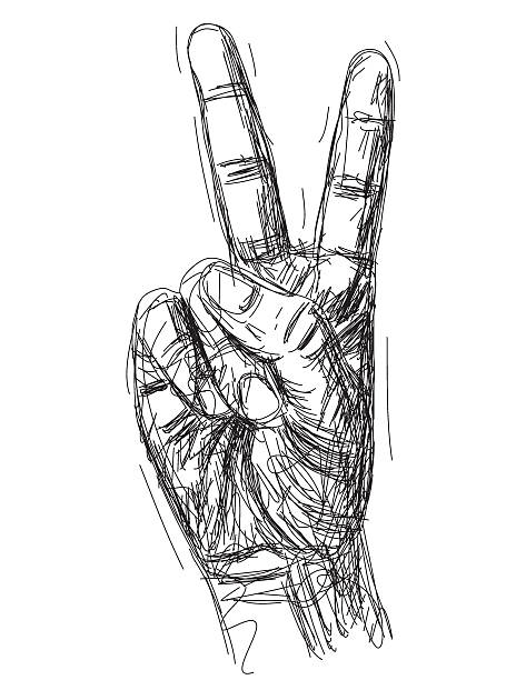 Peace sign A hand making the peace sign. RETROROCKET stock illustrations
