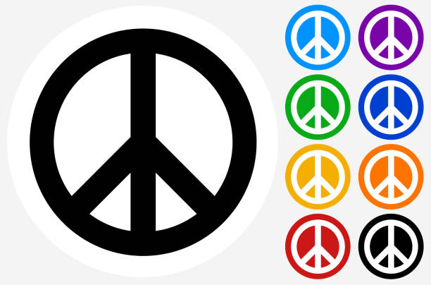 Peace Sign. Peace Sign.The icon is black and is placed on a round blue vector button. The button is flat white color and the background is light. The composition is simple and elegant. The vector icon is the most prominent part if this illustration. There are eight alternate button variations on the right side of the image. The alternate colors are orange, red, purple, yellow, black, green, blue and indigo. symbols of peace stock illustrations