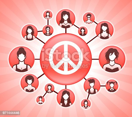 Peace Sign  Women's Rights Pink Vector Background. The main icon depicted in this image is placed on a pink round button in the center of the illustration, It is surrounded by a set of smaller buttons with faces of women of various backgrounds and age groups. The buttons are interconnected and form a network that can represent women's rights and other concepts associated with the power of women and equality in the modern society.