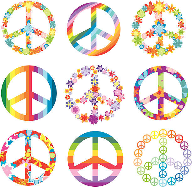 Peace signs in flora and rainbow designs set of peace symbols vector illustration symbols of peace stock illustrations