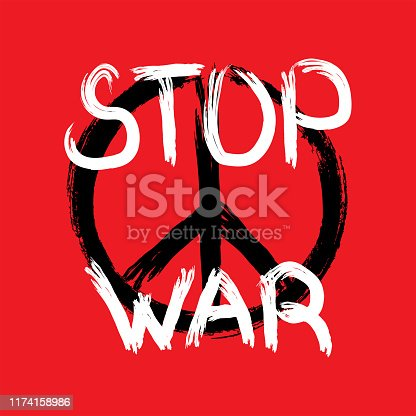 Peace symbol and handwritten text Stop War drawn by rough brush. Anti-war poster. Grunge, sketch, paint, graffiti, ink. Vector illustration.
