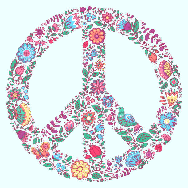 Peace Symbol Floral Ornament vector art illustration