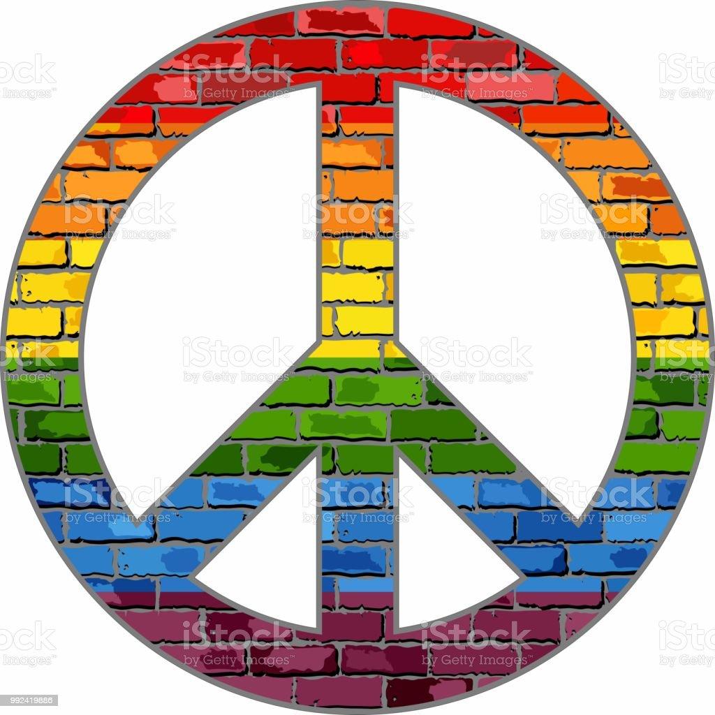 Símbolo de la paz LGTB en una textura de ladrillo - ilustración de arte vectorial