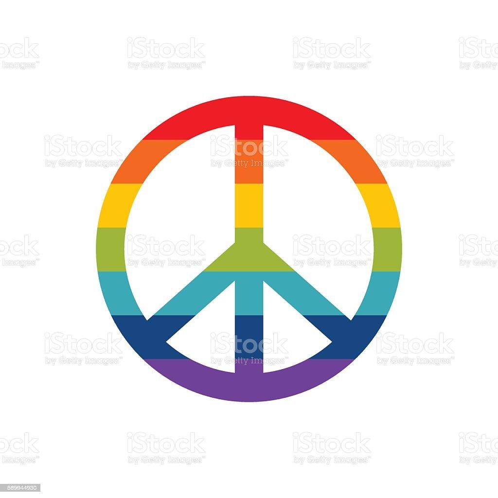 Peace symbol in rainbow colors, vector icon illustration vector art illustration
