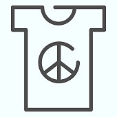 Peace symbol on t-shirt line icon. Peace shirt vector illustration isolated on white. T-shirt with peace symbol outline style design, designed for web and app. Eps 10.