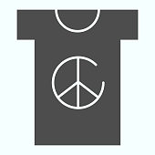 Peace symbol on t-shirt solid icon. Peace shirt vector illustration isolated on white. T-shirt with peace symbol glyph style design, designed for web and app. Eps 10.