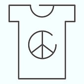 Peace symbol on t-shirt thin line icon. Peace shirt vector illustration isolated on white. T-shirt with peace symbol outline style design, designed for web and app. Eps 10.