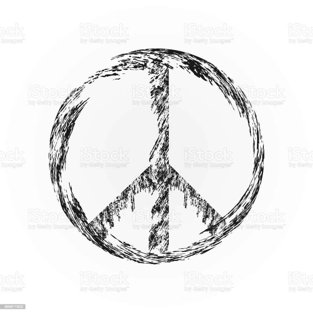 Peace symbol, sign pacifism. Torn wrist. Isolated. vector art illustration