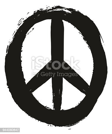Peace Symbol Vector Hand Painted With Rounded Brush Set 02 Stock
