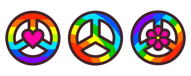 Peace symbol vector illustration Peace symbol set, rainbow color pacific sign, vector illustration in modern line art style symbols of peace stock illustrations
