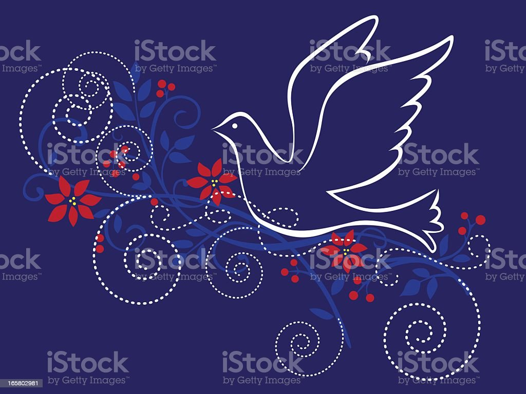 Peace symbol white line dove on blue with decorative swirls royalty-free stock vector art
