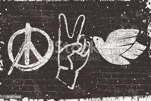 istock Peace symbols graffiti on a black wall 1195352945