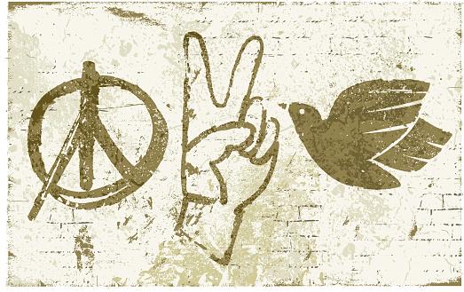 Peace Symbols Graffiti Wall