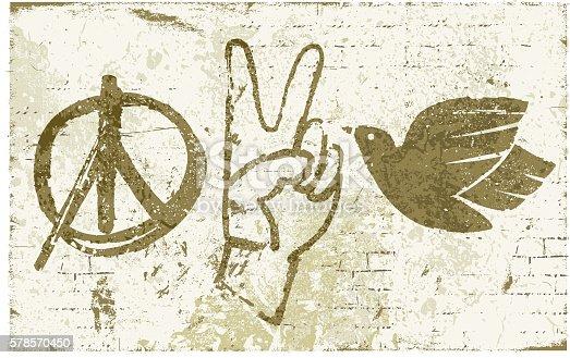 Vector illustration of peace symbols on a bricks wall.