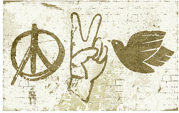 Peace Symbols Graffiti Wall Vector illustration of peace symbols on a bricks wall. symbols of peace stock illustrations