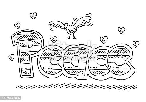 istock Peace Text Dove Heart Symbols Drawing 1275818847