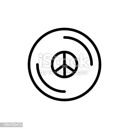 istock Peace, vinyl icon. Simple line, outline vector elements of flower children icons for ui and ux, website or mobile application 1254702474