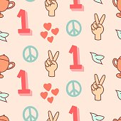 Peace, winner, champion seamless pattern