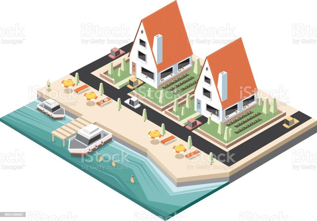 Peaceful beach isometric vector art illustration