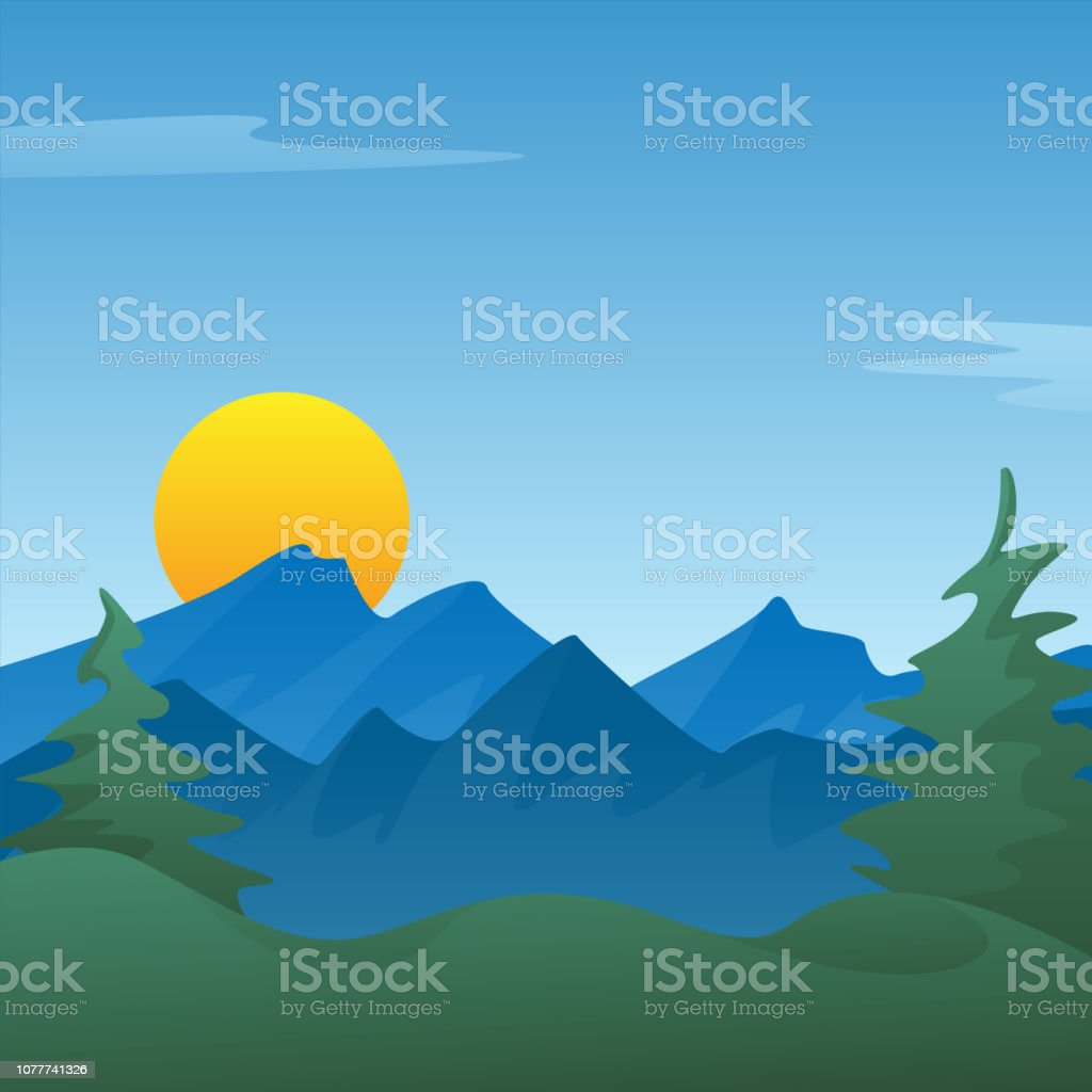 Peaceful blue mountain landscape scene background with pine trees, rolling hills, sun rising or setting, vector Illustration vector art illustration