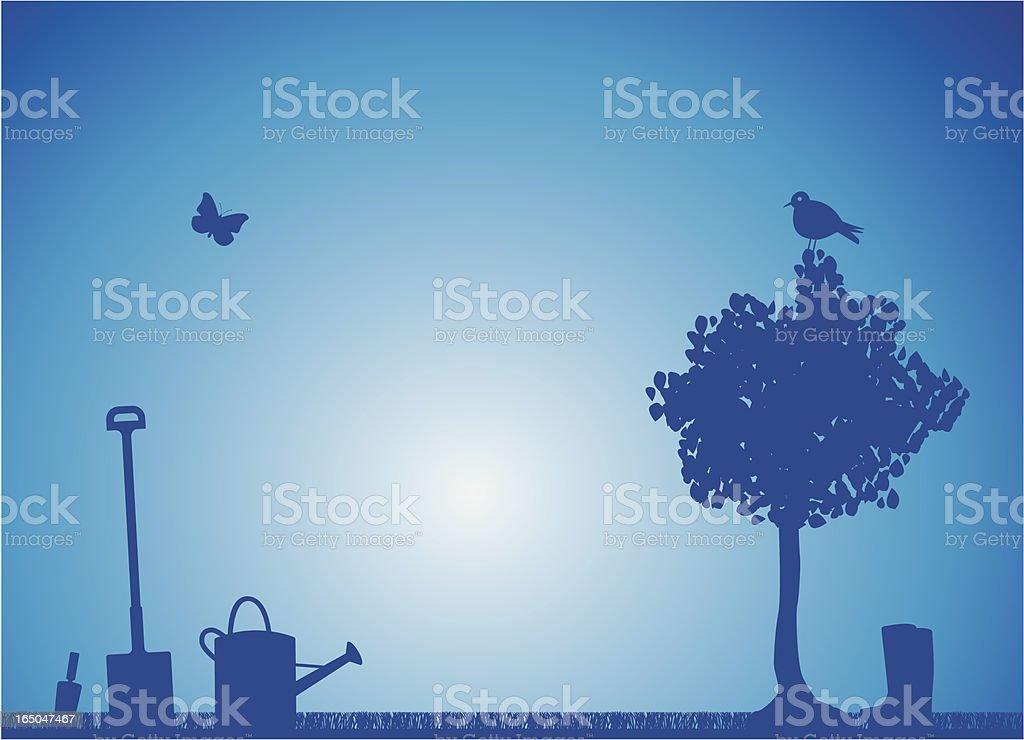 peaceful garden royalty-free stock vector art