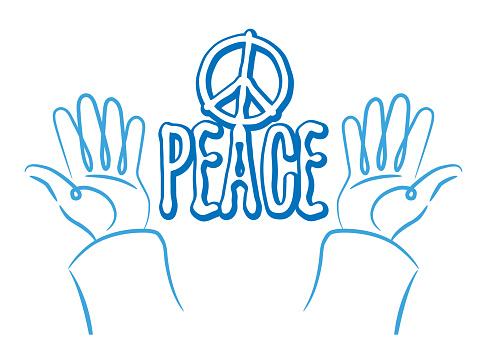 Peaceful Gesture Isolated Flat Illustration