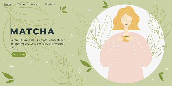 Peaceful Girl Holding a Cup Vector Illustration