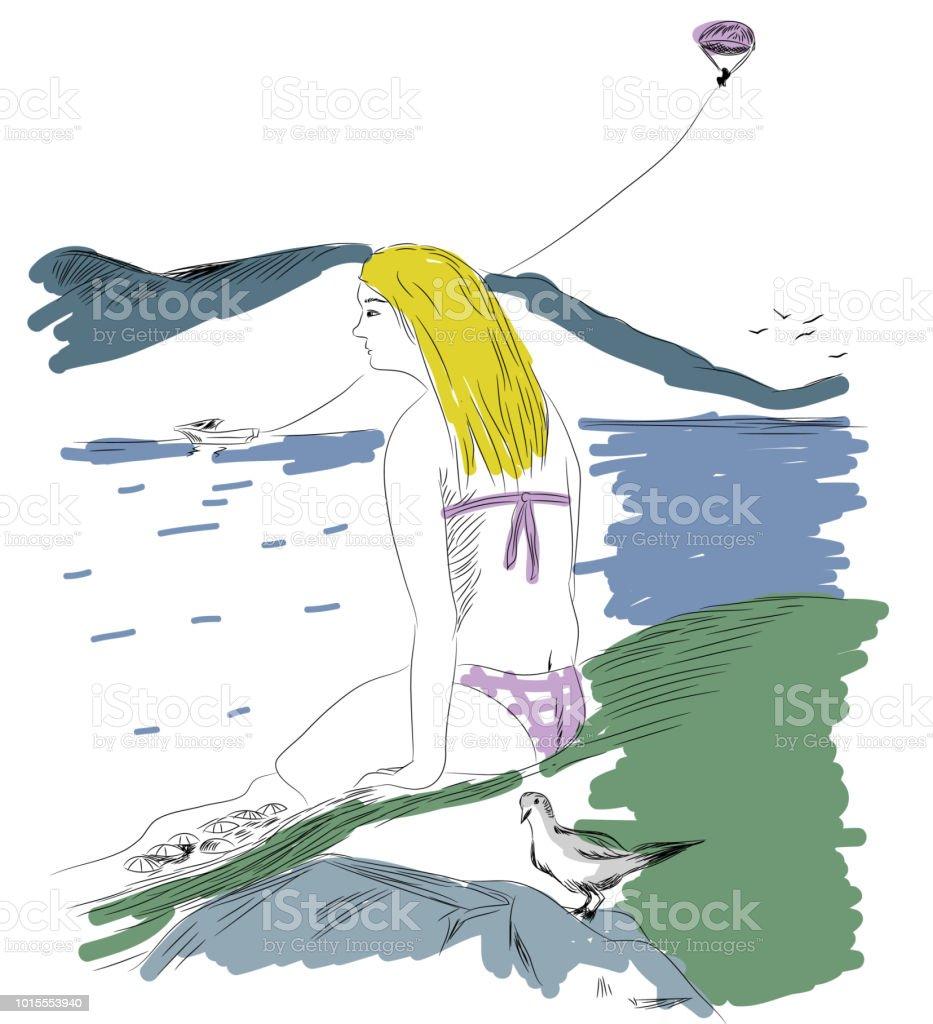 Dünyanın tepesinde huzurlu kız. vektör sanat illüstrasyonu