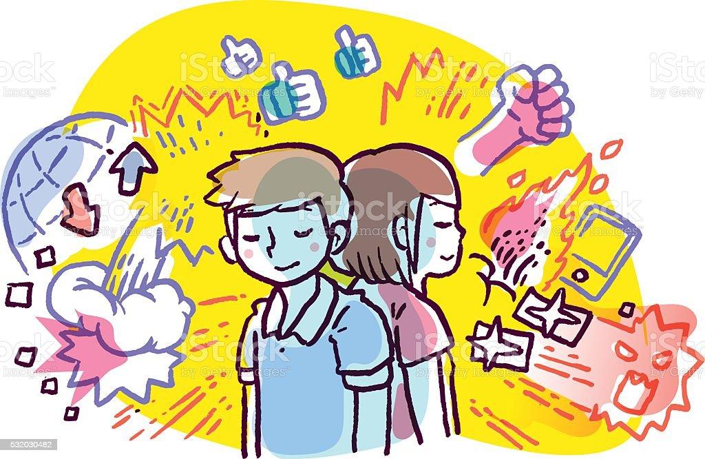 Mann und Frau, die friedlich gegen chaotischen Welt – Vektorgrafik