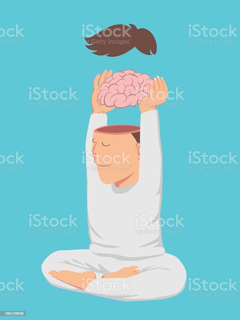 Ruhiger Mann auszuziehen sein Gehirn – Vektorgrafik