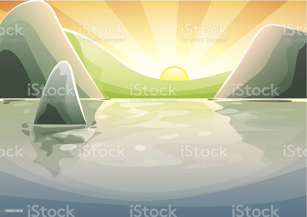 Peaceful mountain sunset royalty-free stock vector art