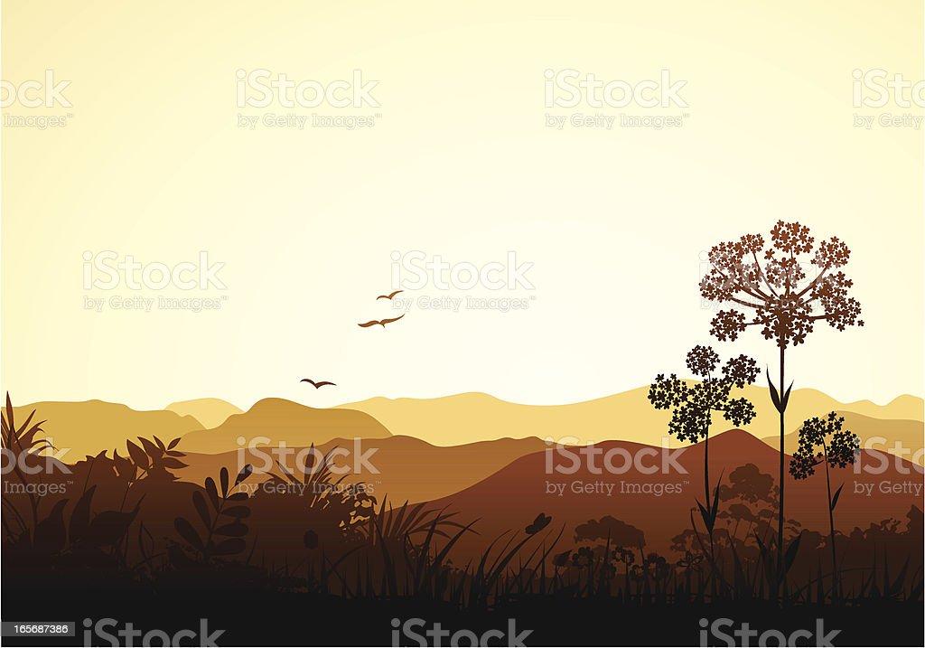 Peaceful Valley vector art illustration