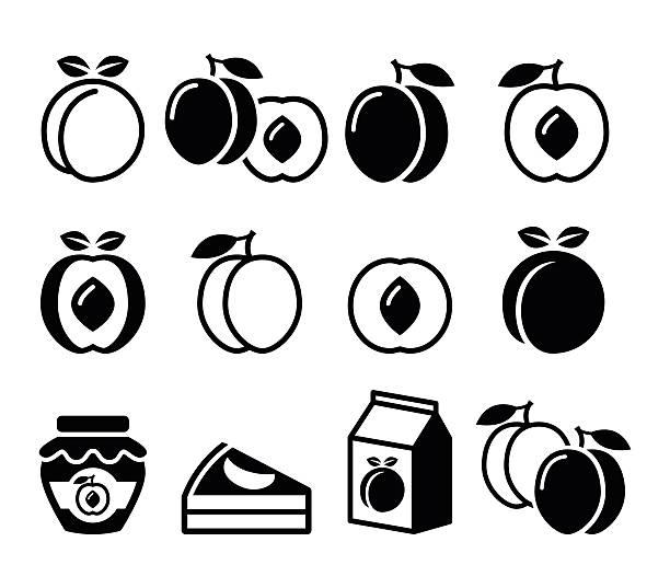 peach, apricot, fruit icons set - nektarinenmarmelade stock-grafiken, -clipart, -cartoons und -symbole