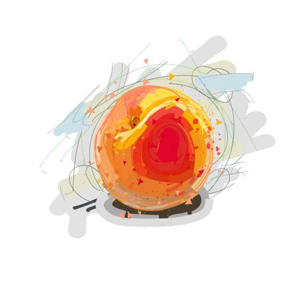 pfirsich. künstlerische pfirsich. vektor-illustration - nektarinenmarmelade stock-grafiken, -clipart, -cartoons und -symbole