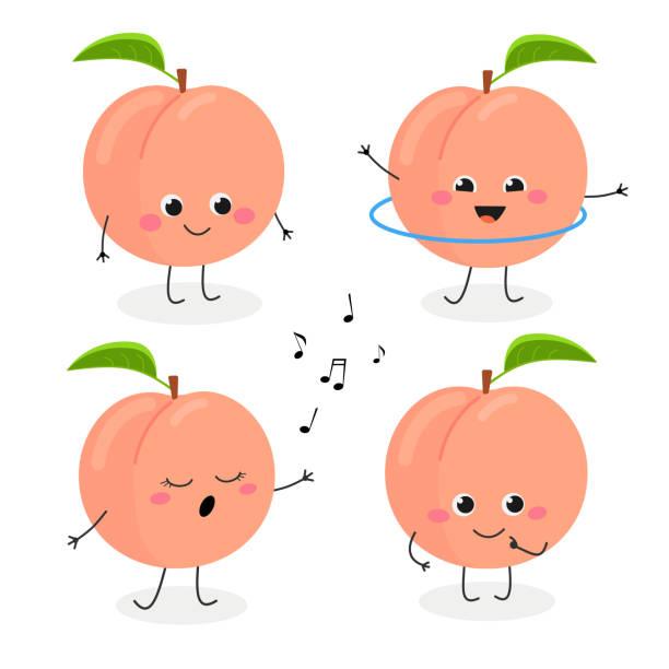 illustrazioni stock, clip art, cartoni animati e icone di tendenza di peach cartoon character emoticon set - pesche bambino