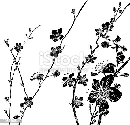 Japanese or Chinese style spring floral fashion design. Cherry or peach blossom flowers tree abstract background pattern.