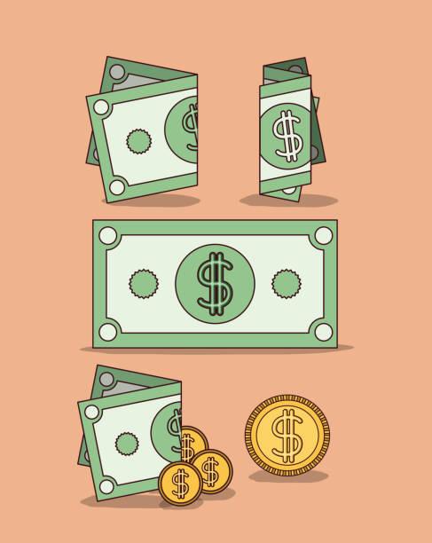 Fondo de color melocotón con conjunto de billetes y monedas - ilustración de arte vectorial