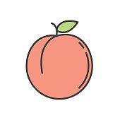 istock Peach Cute Fruit Icon 1157973983