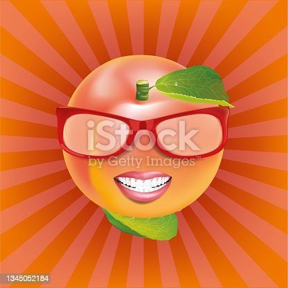 istock Peach face wearing glasses with mouth.illustration vector 1345052184
