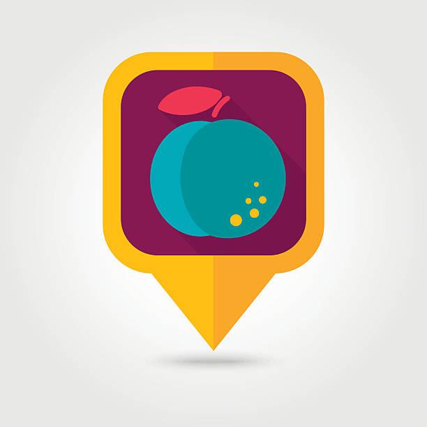 Peach flat pin map icon. Fruit vector art illustration